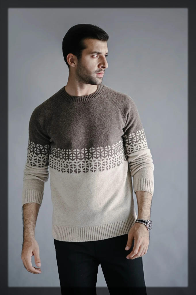 brown and off-white sweater
