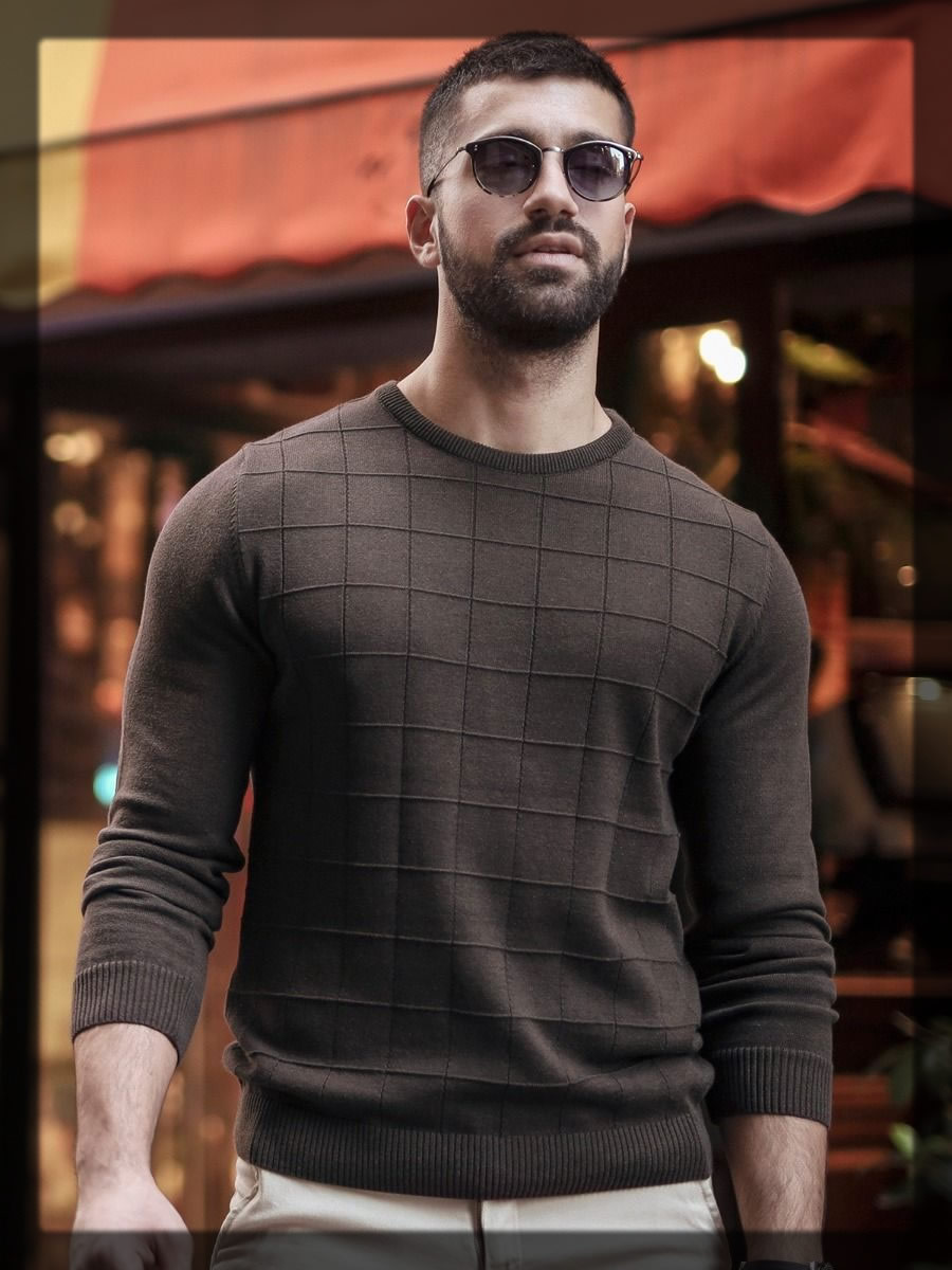 brown plaited sweater for men