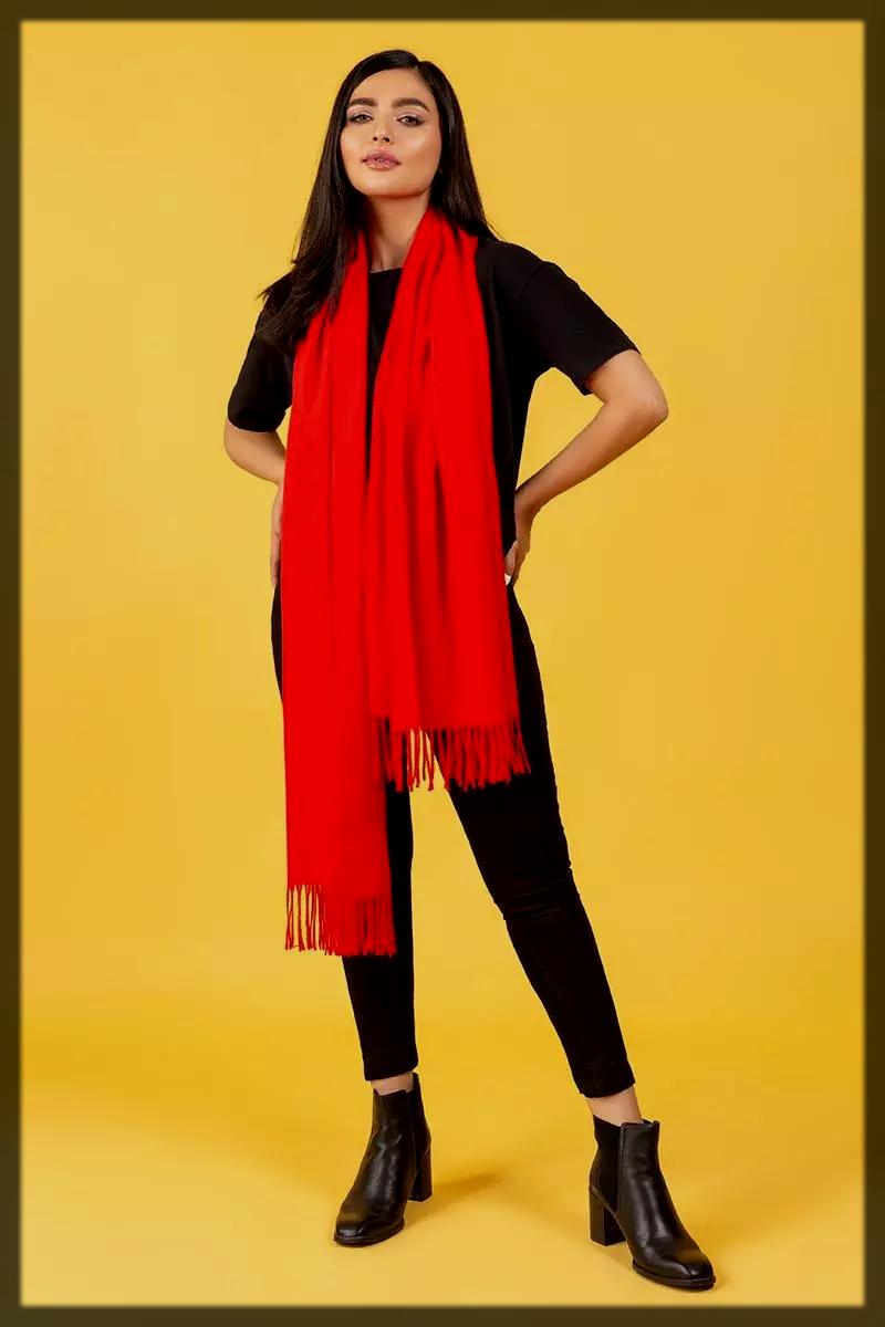 classy red shawl