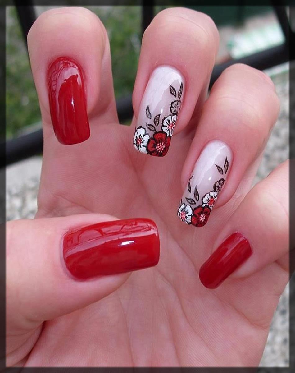 coral and floral nail art