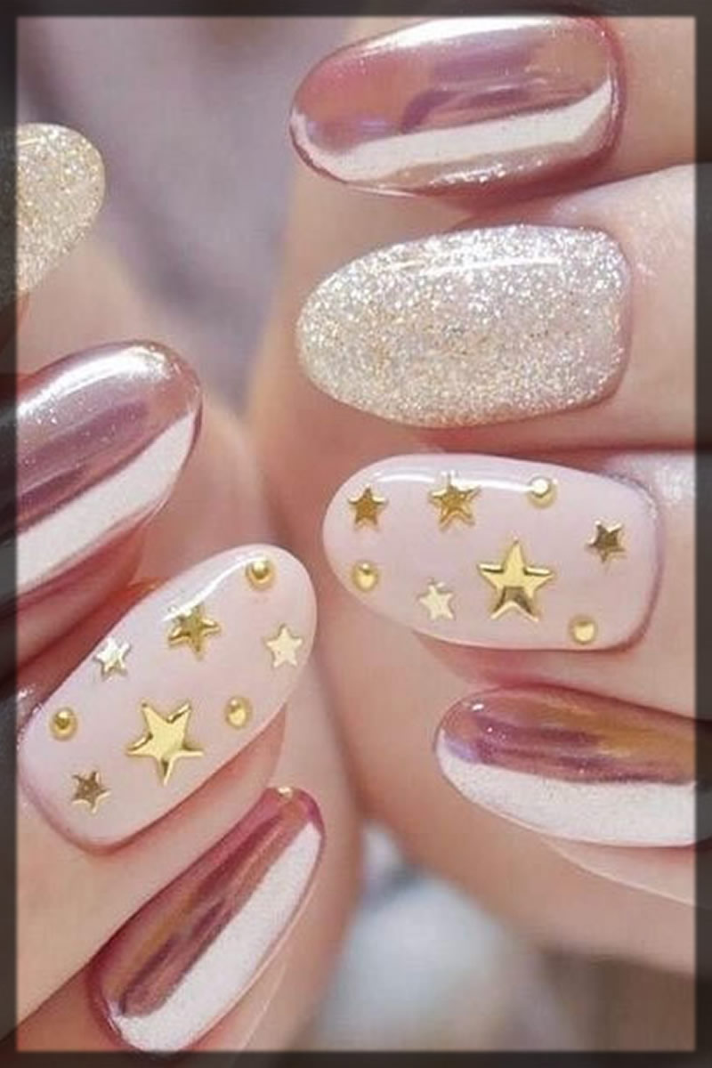 glitter and star nail art