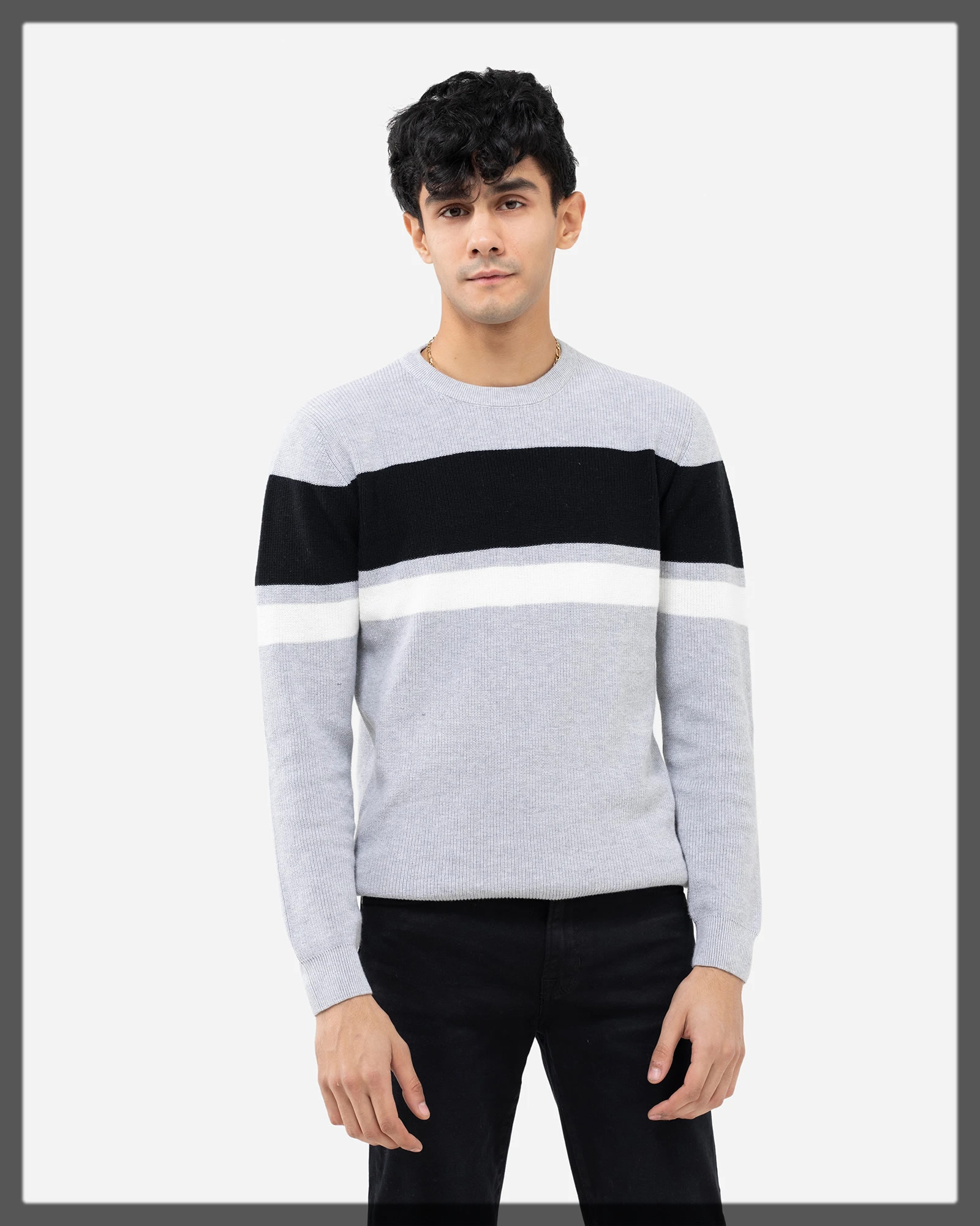 grey and black lining sweater