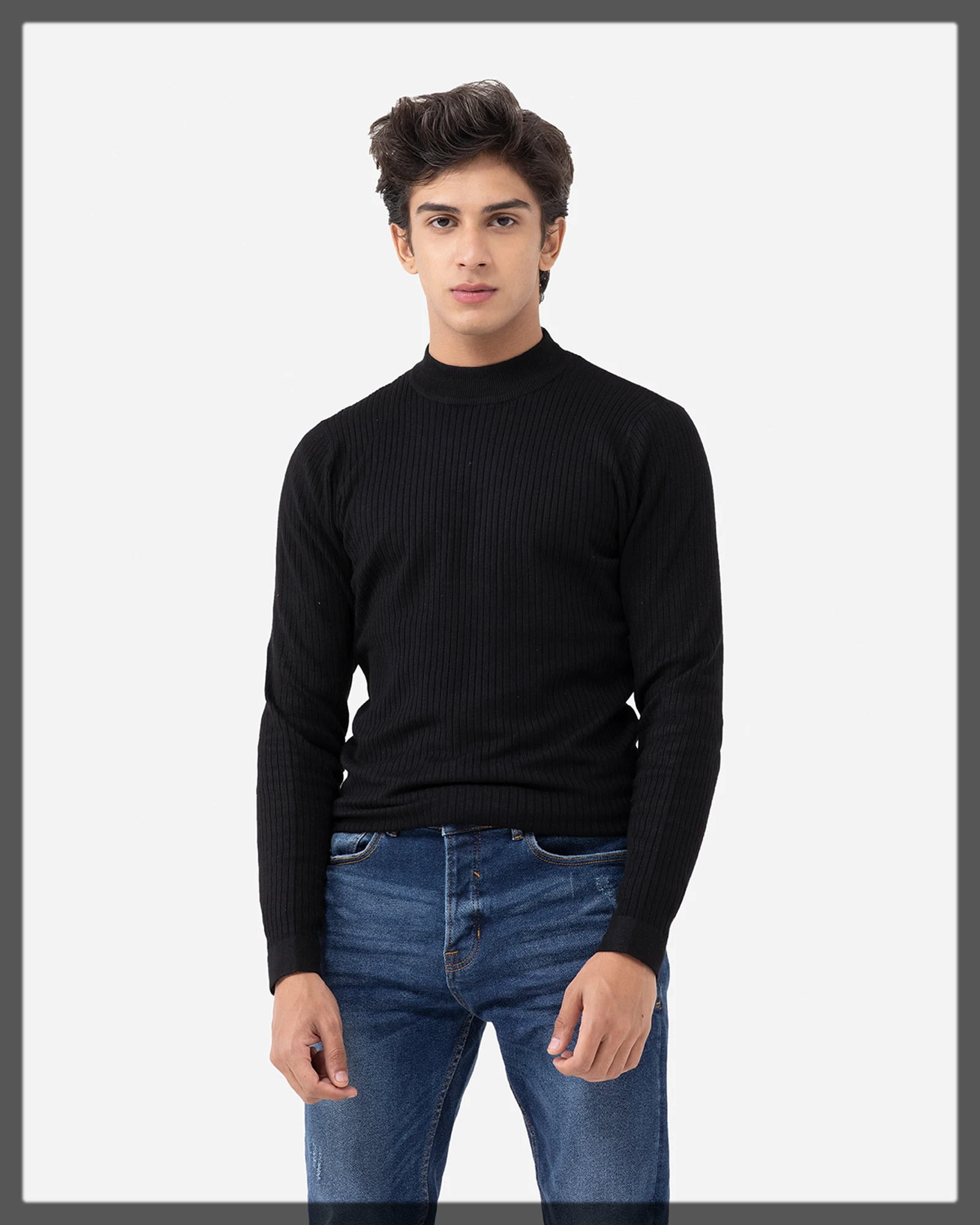 jet black men's sweater