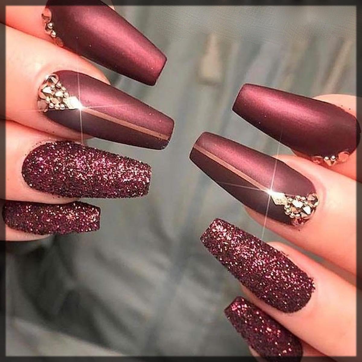magnetic burgundy nail art
