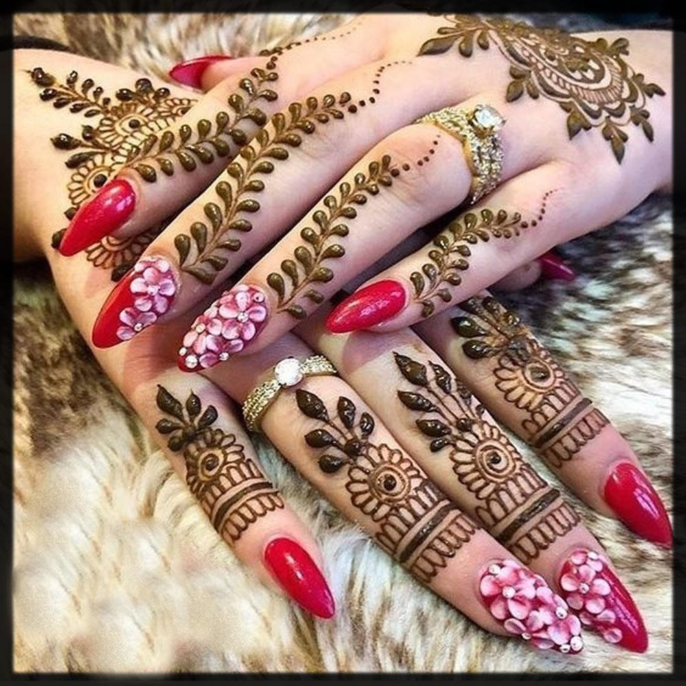 rose henna style nail art