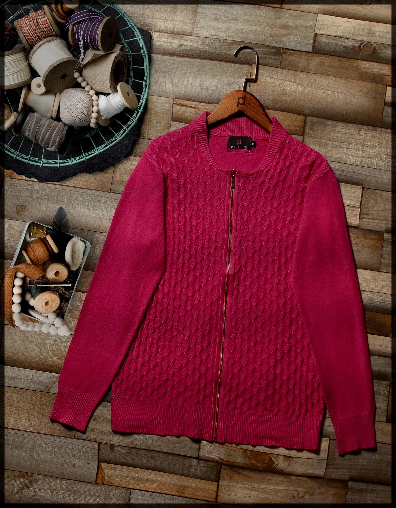 rose pink polka sweaters for women