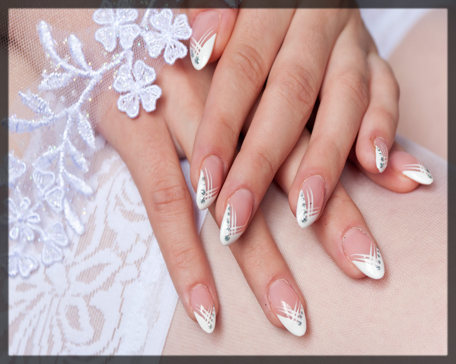 stylish french manicure for brides