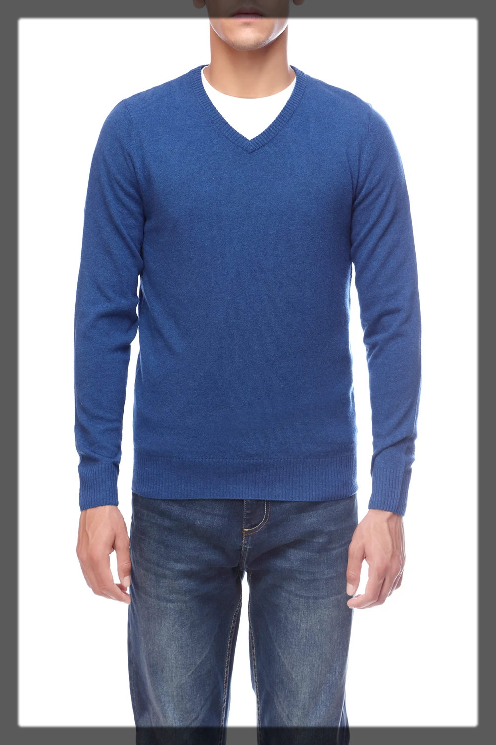 v-neck blue wool Winter Sweaters For Men