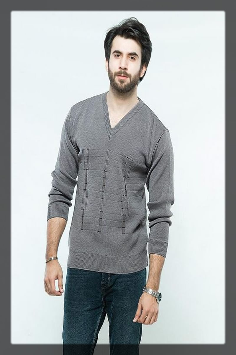 v-neck grey wool sweater