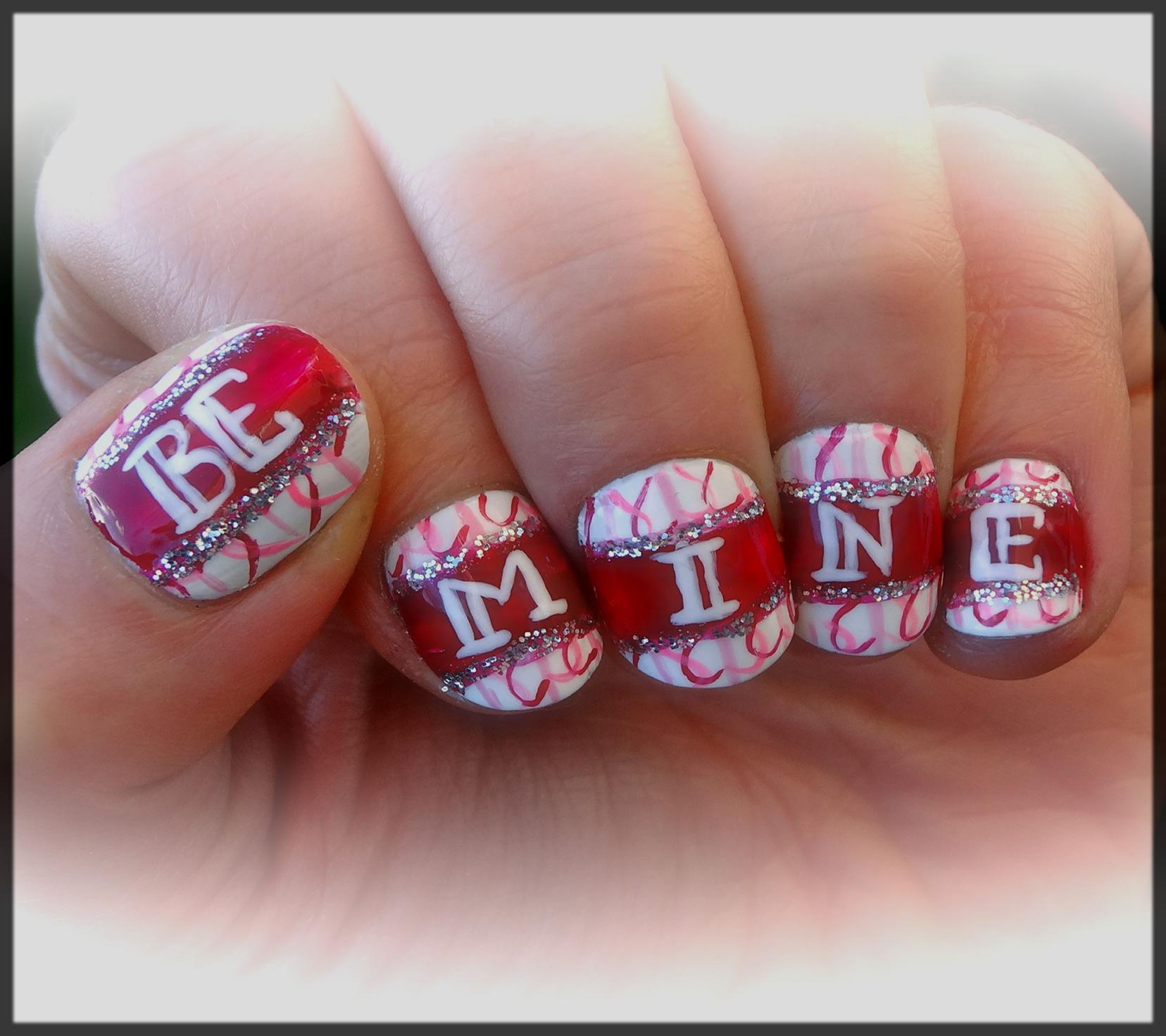 Bee Mine Valentine's Day Nail Art Designs