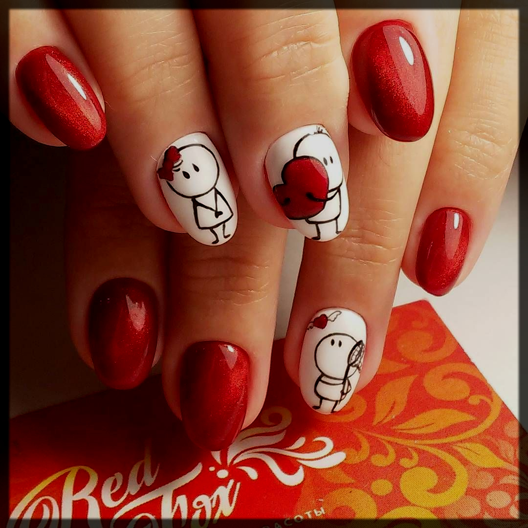 Characters Valentines Day Nail Design