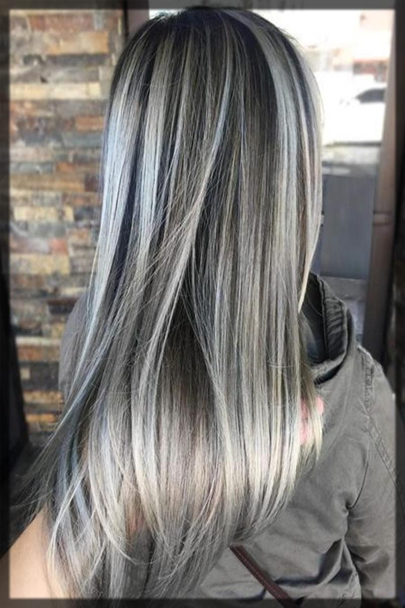 Classy winter ash grey hair color