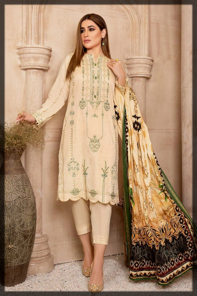 Cotton Satin Suits with Jacquard Shawl