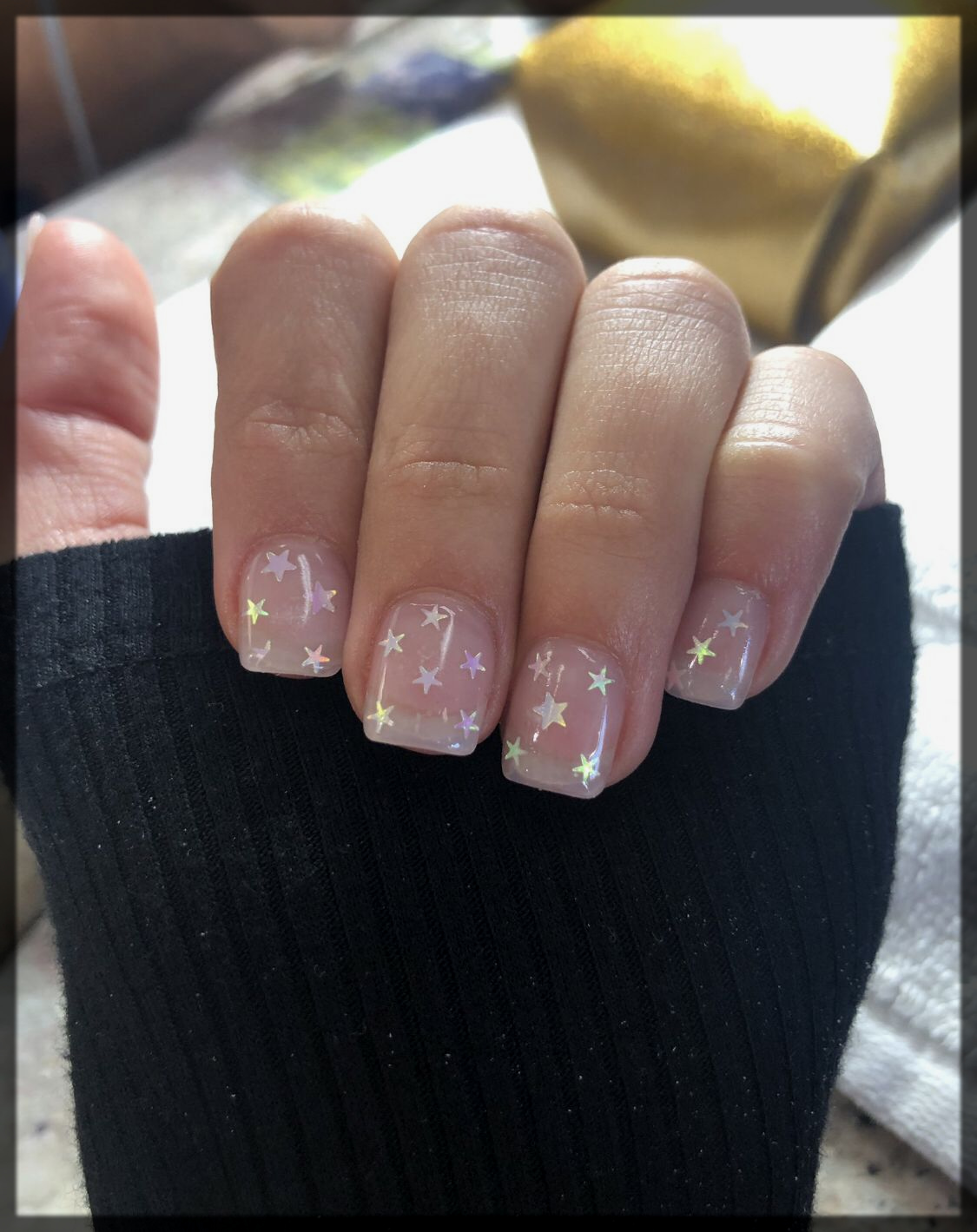 Gel Nails with Star Sparkles