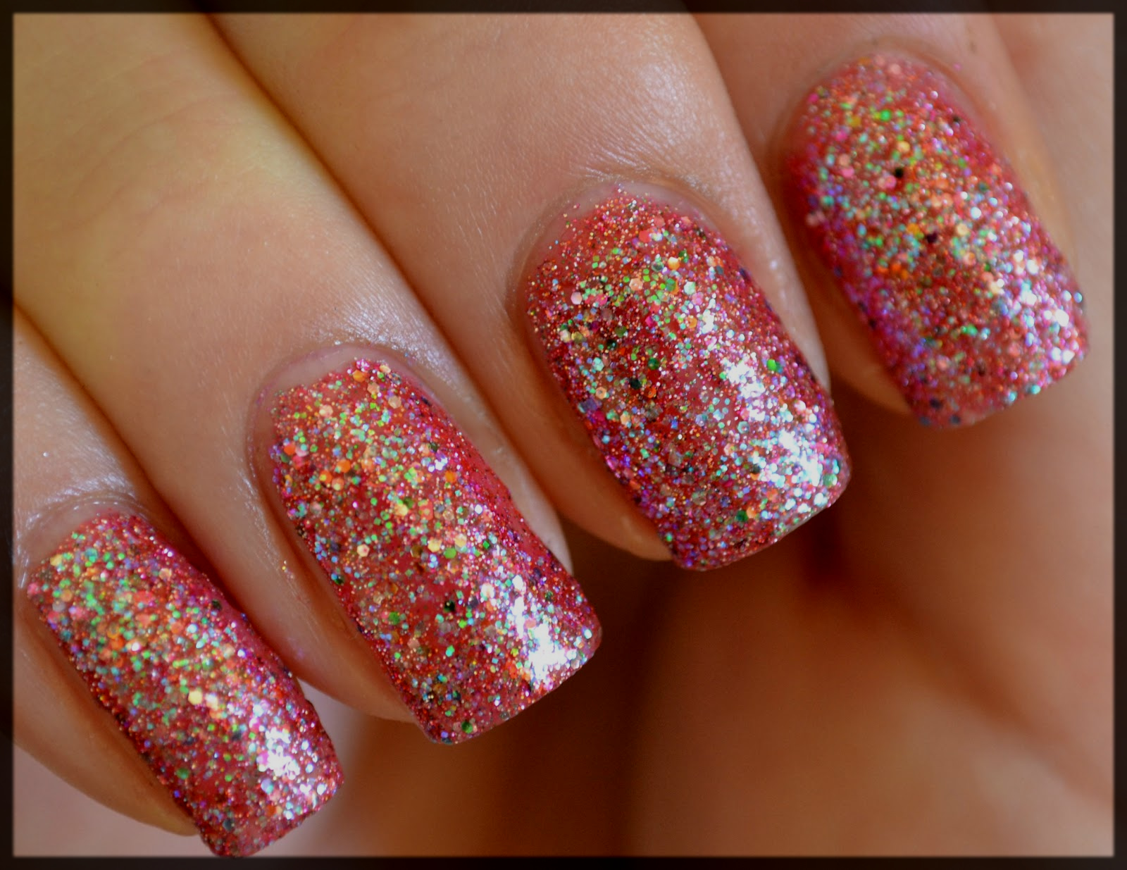 Glittery Nail Design for Teens