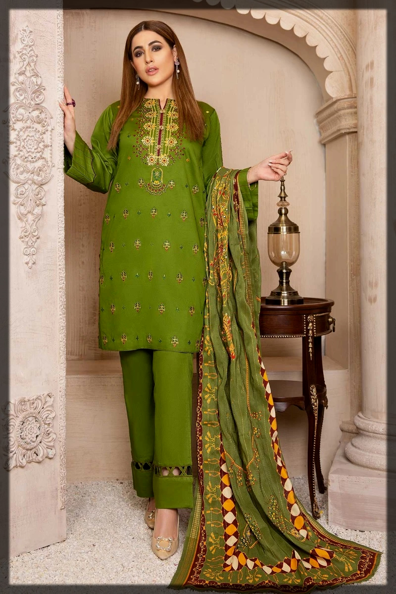 Green shaded Cotton Satin Suits with Jacquard Shawl