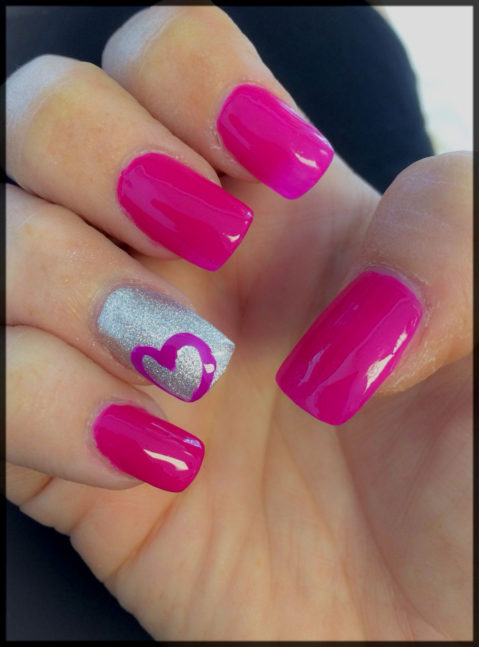 Hot Pink valentine's day nail art
