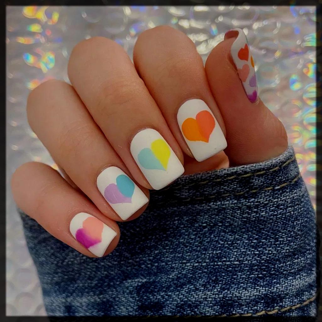 Rainbow Hearts Nail Art