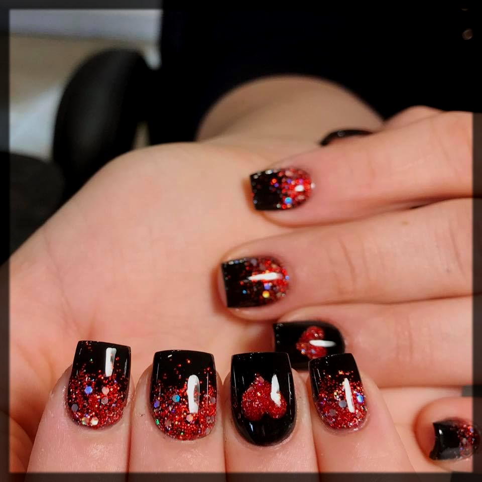 Red and Black Valentines Day Nail Design