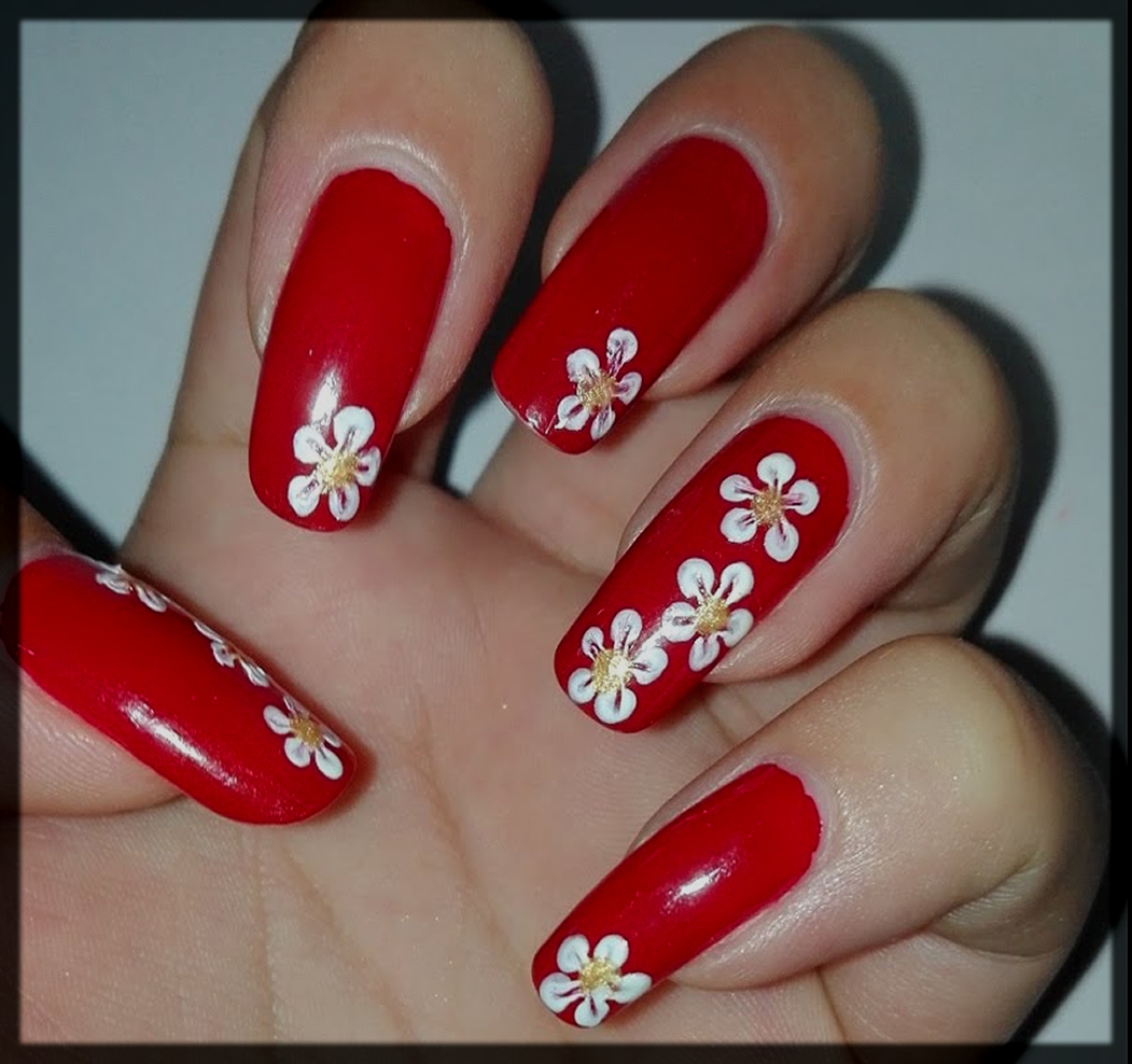 Roses valentine's day nail art