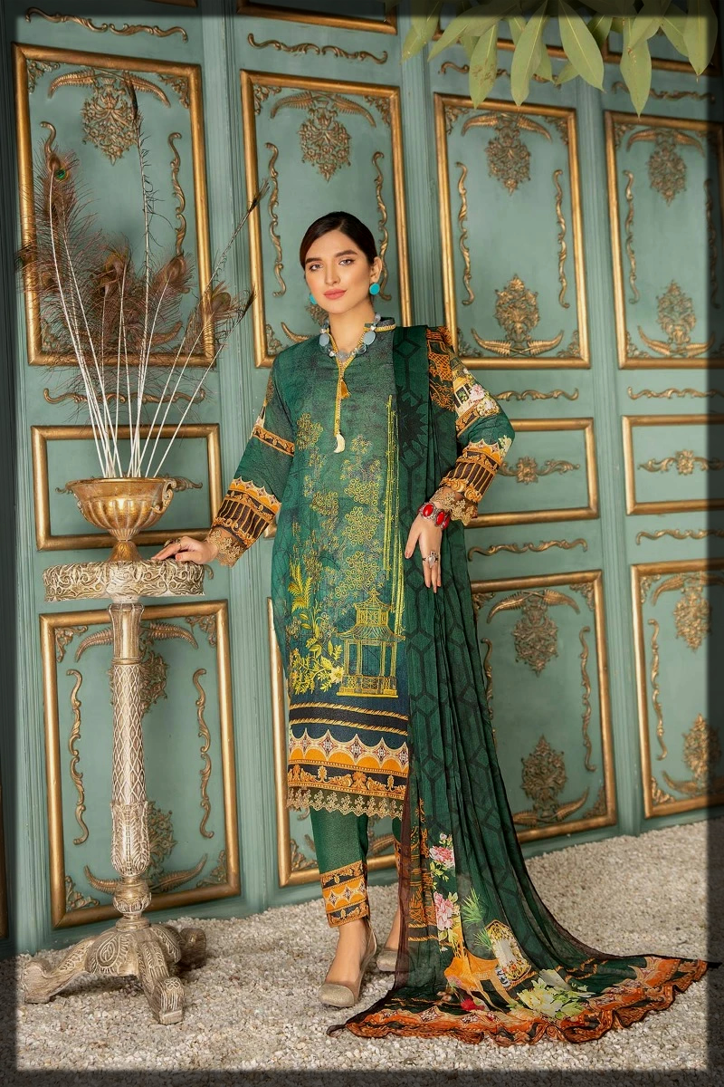 green shaded winter suit by Sitara