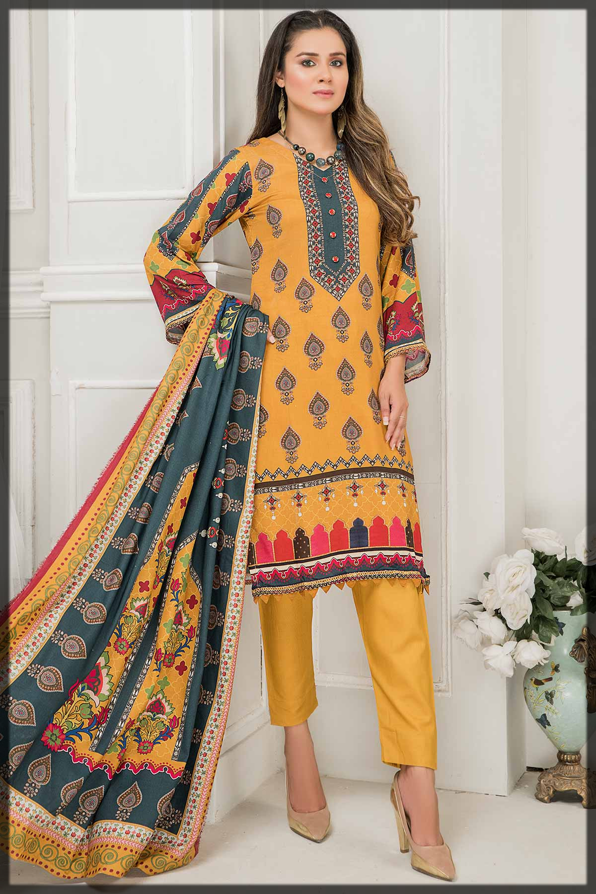 stunning 3pc printed linen suit