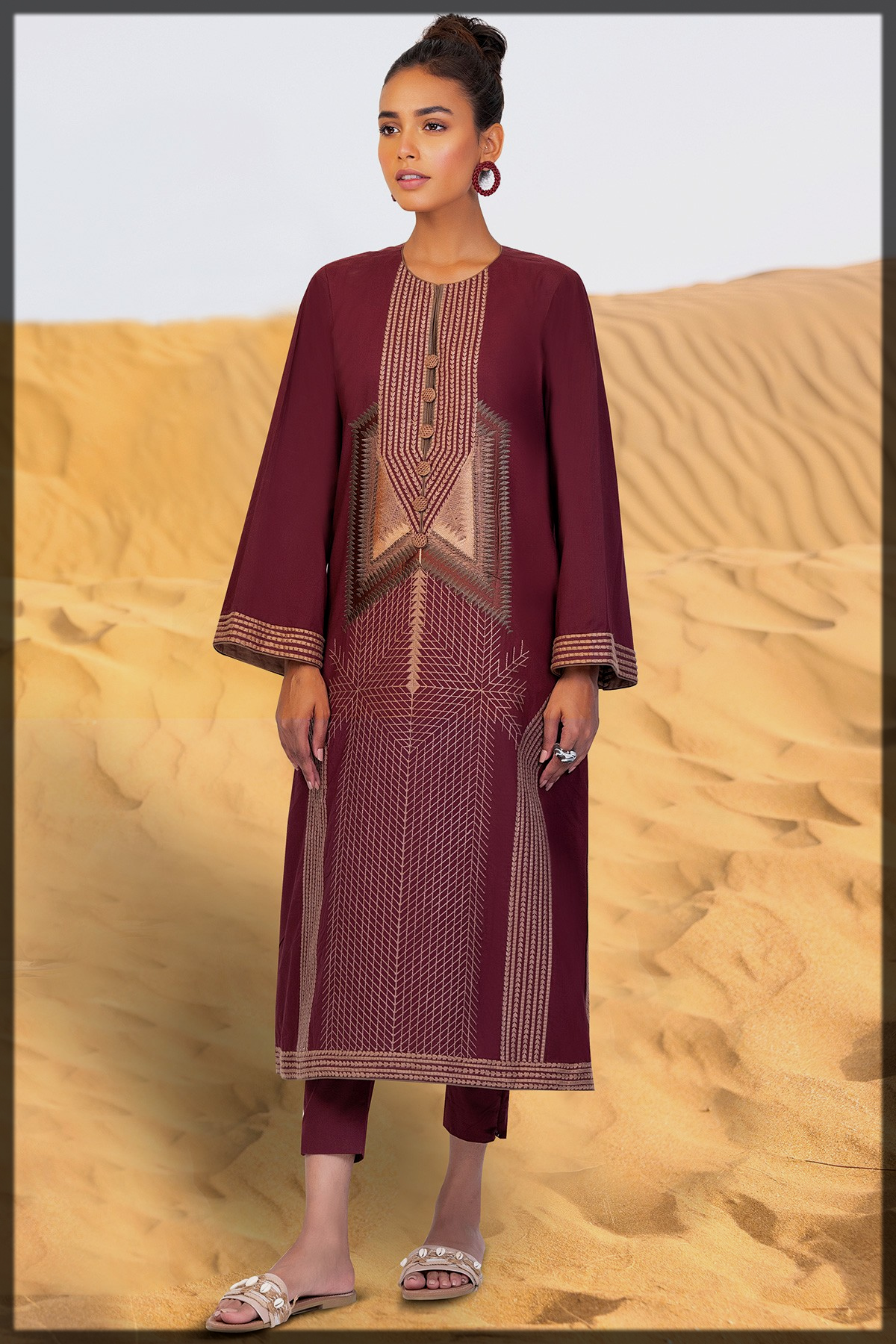 2 Pc Embroidered Suit With Cambric Trouser
