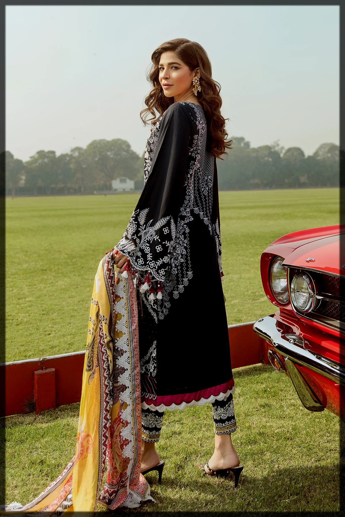 Black Embroidered Dress for Women