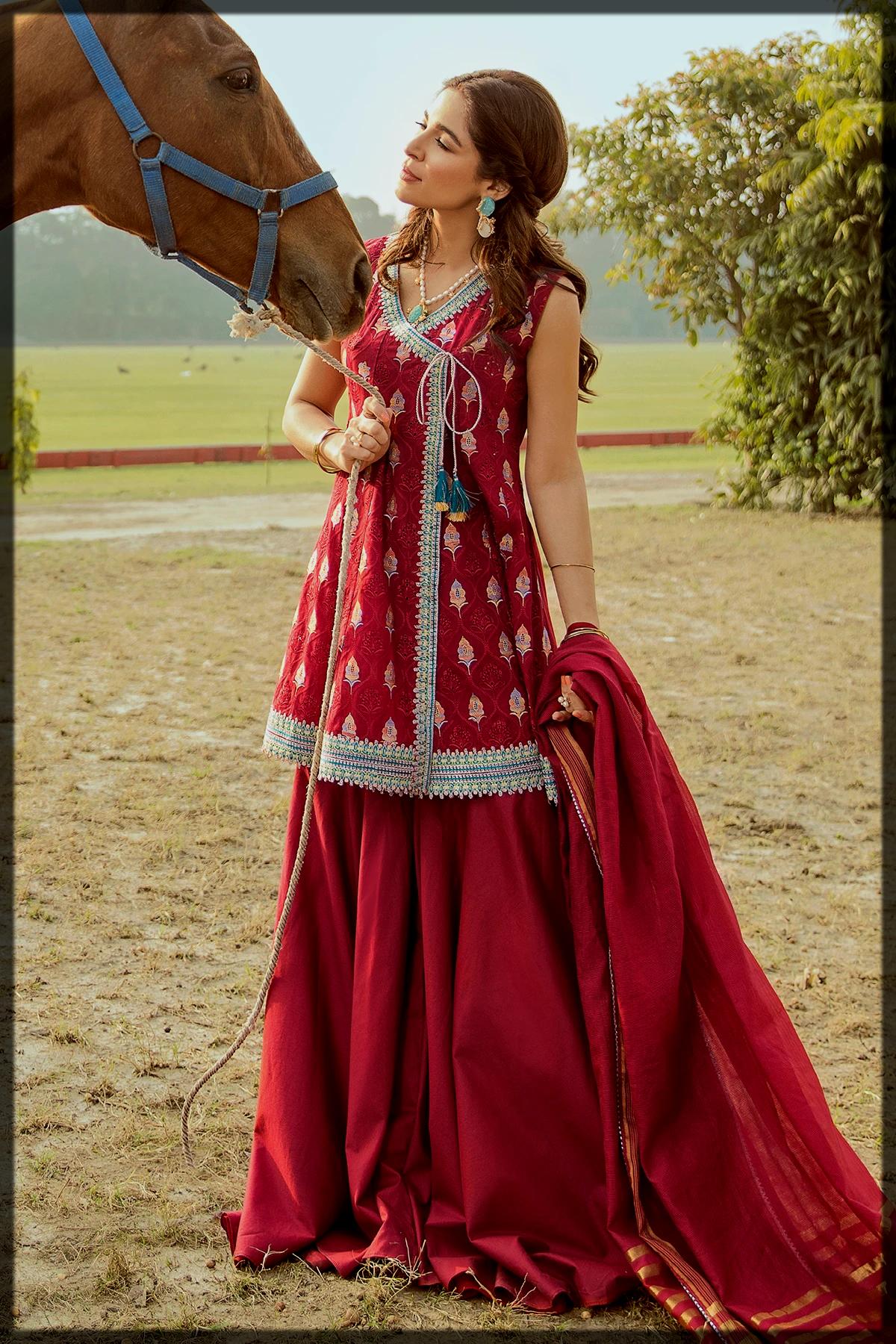 Classy Maroon Luxury suit by Saira Rizwan