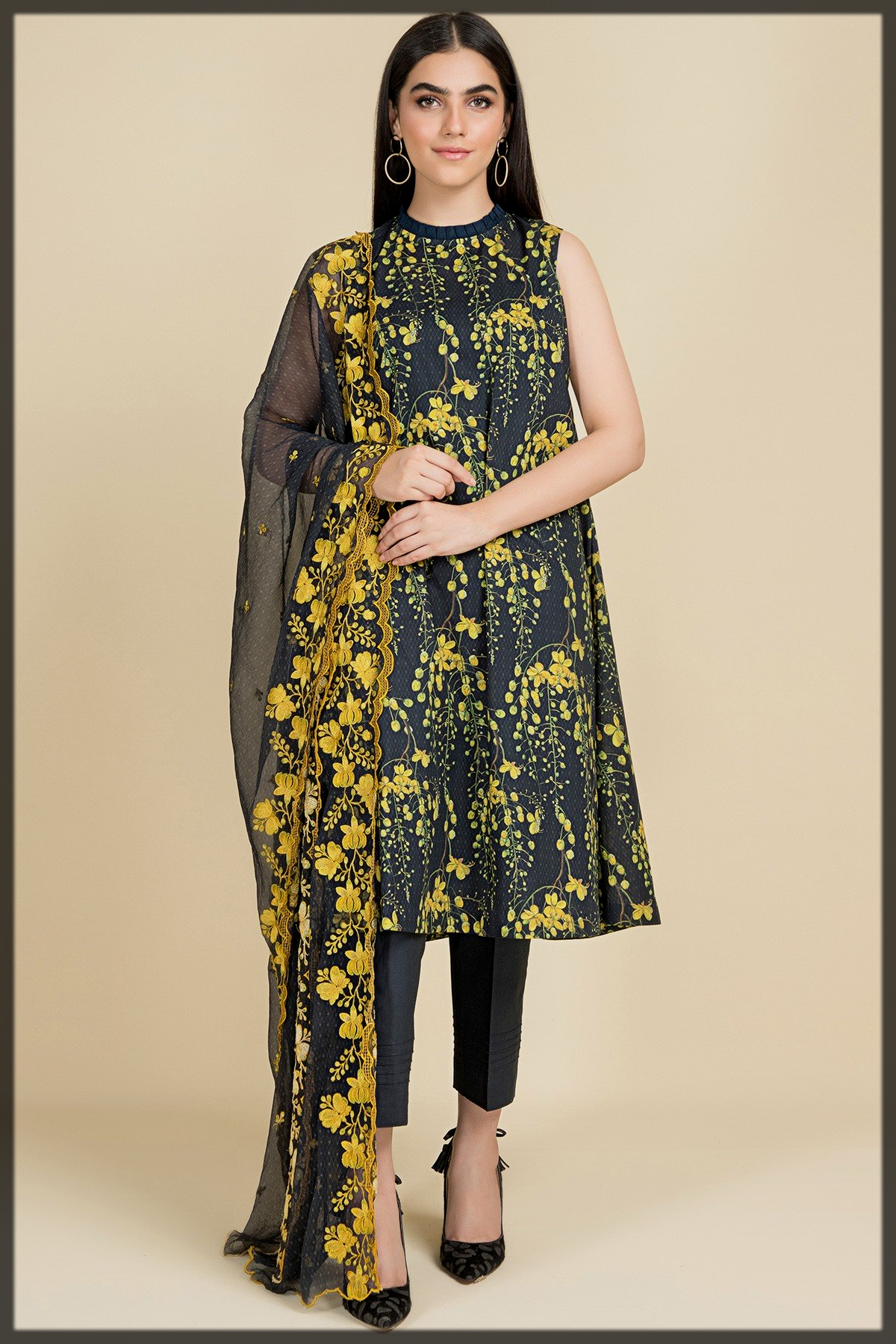 Digital Printed & Embroidered 3 Pcs Suit