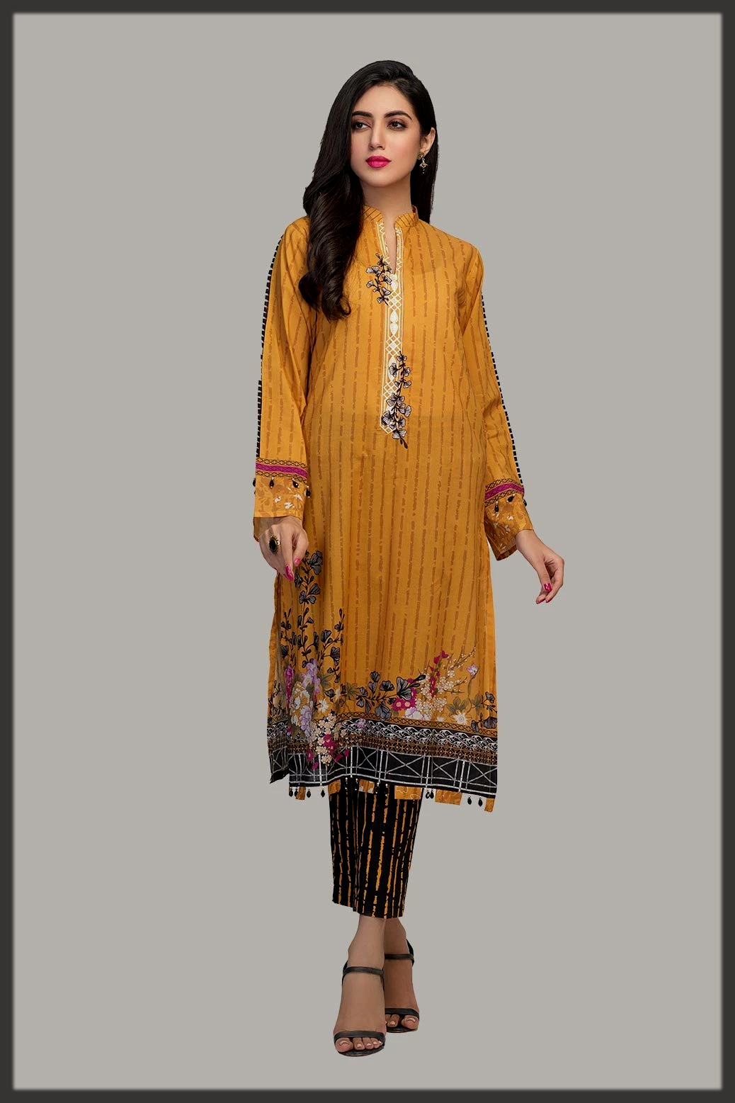 Digital Printed Embroidered Lawn suit