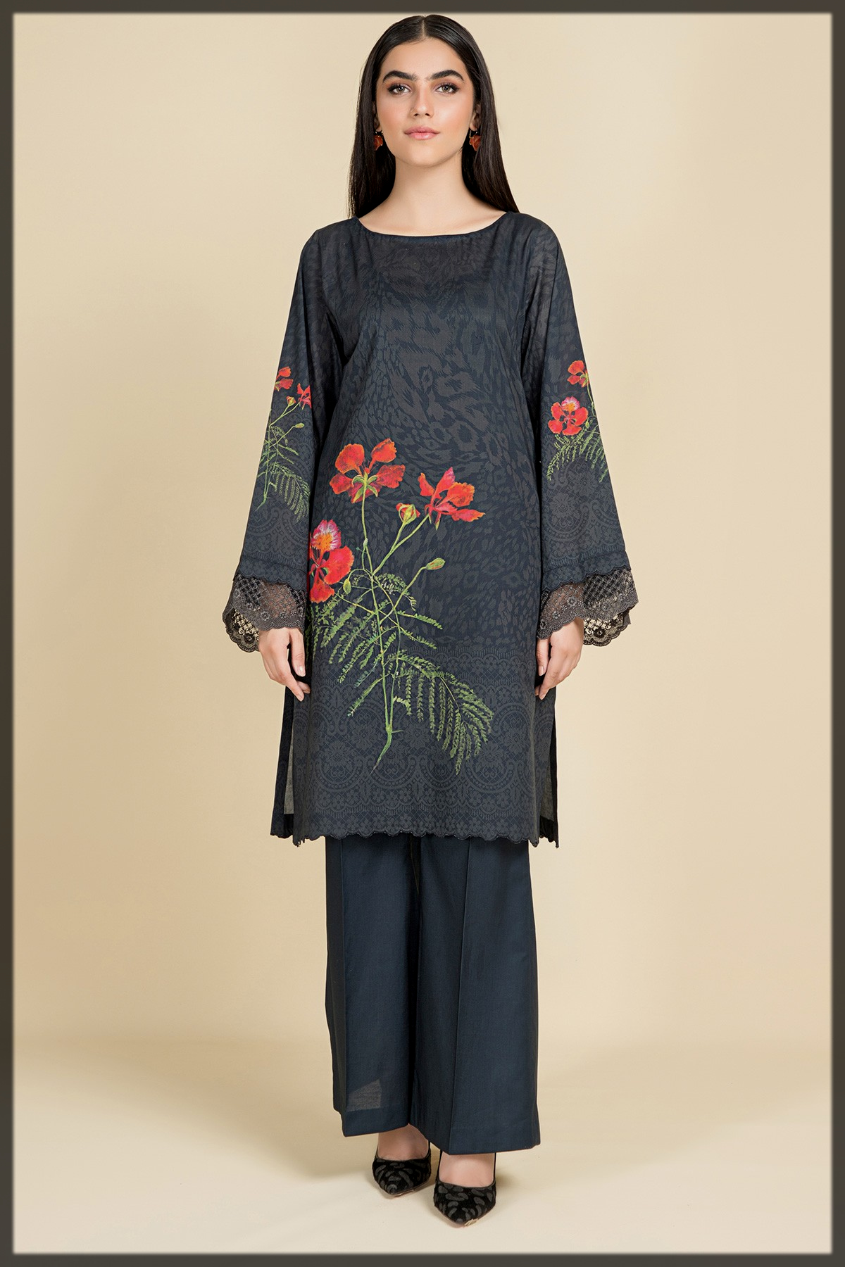 Digital Printed Shirt With Dyed Lace