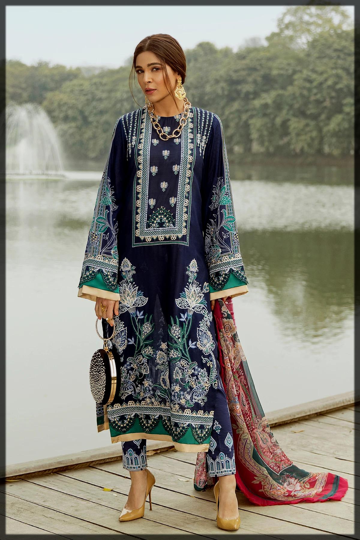 Embroidered Slub Lawn collection by saira