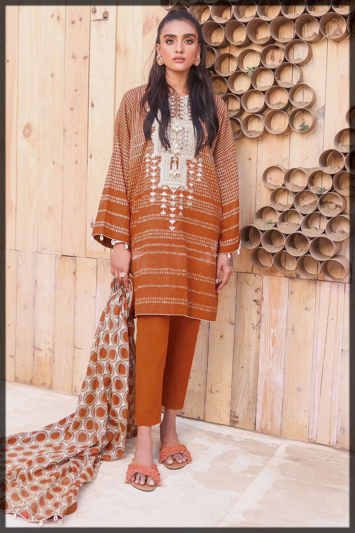 Embroidered Suit With Cotton Net Dupatta