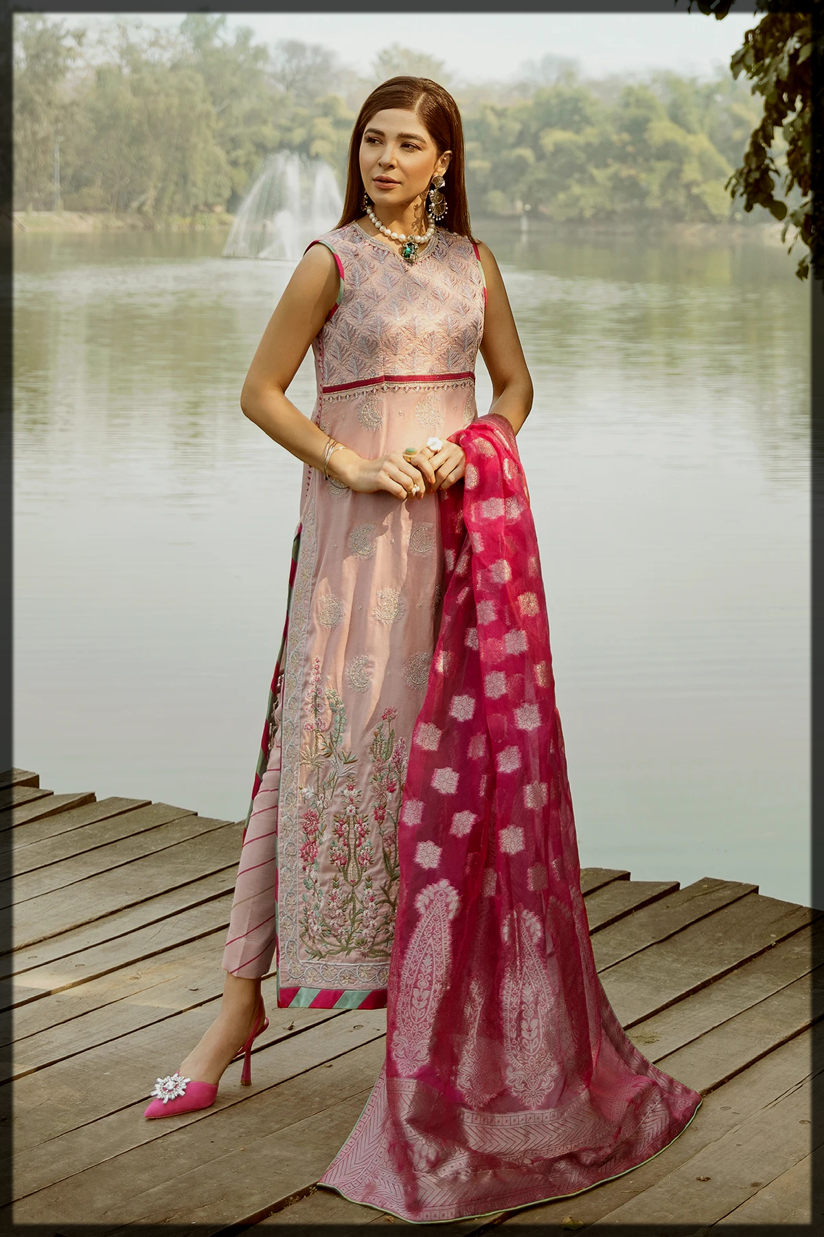 Lovely Peach and Shocking Pink Embroidered Outfit