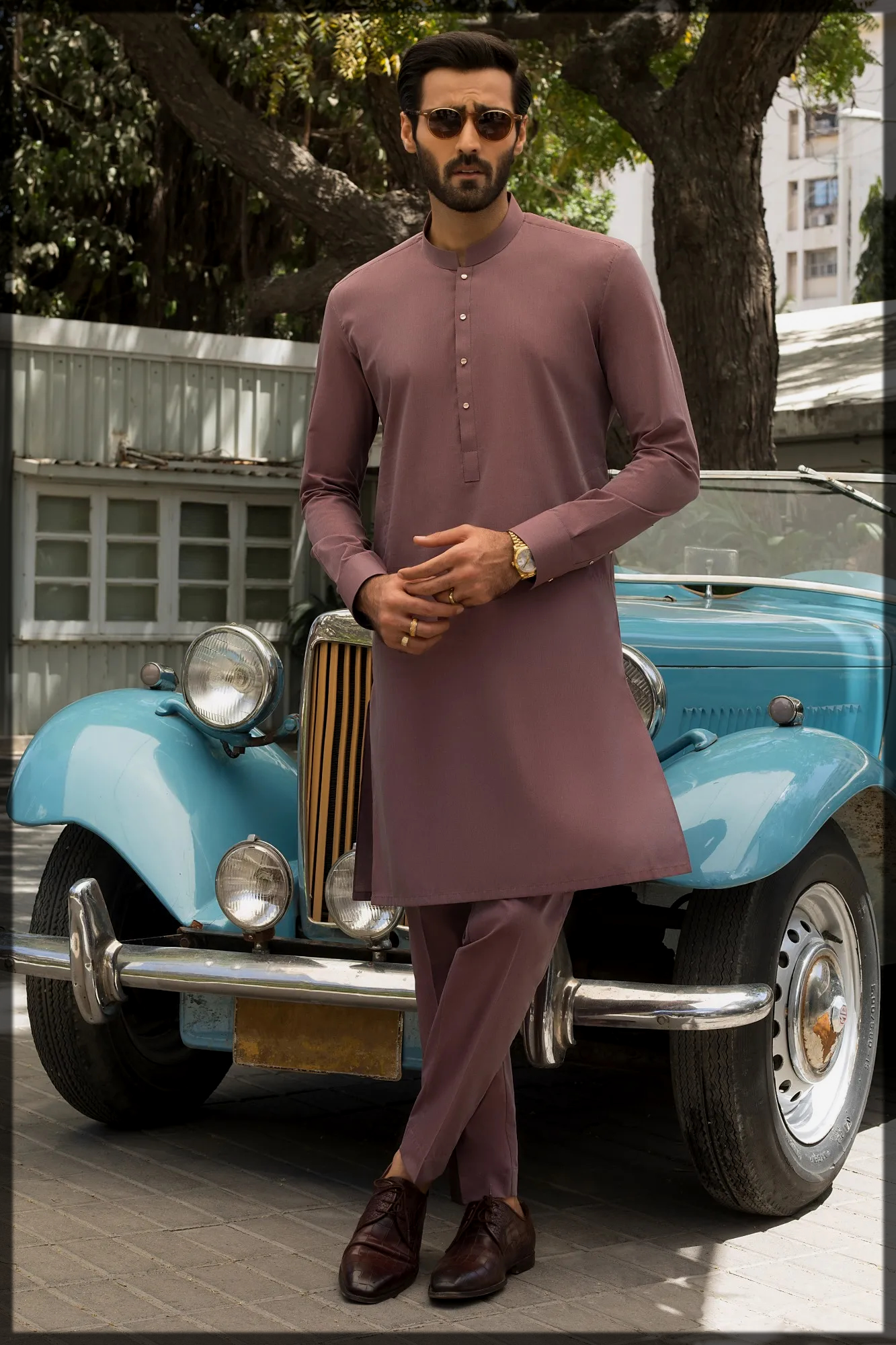 Luxe Gold Edition by Junaid Jamshed for men in maroon hues