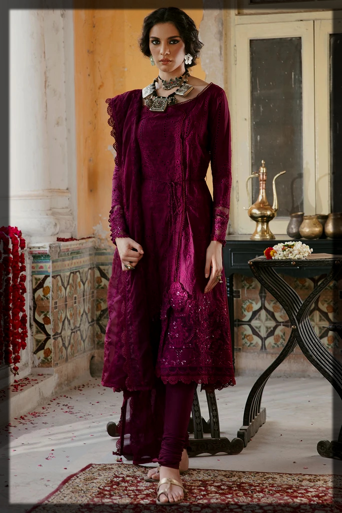 Maroon shaded motifz winter collection for women
