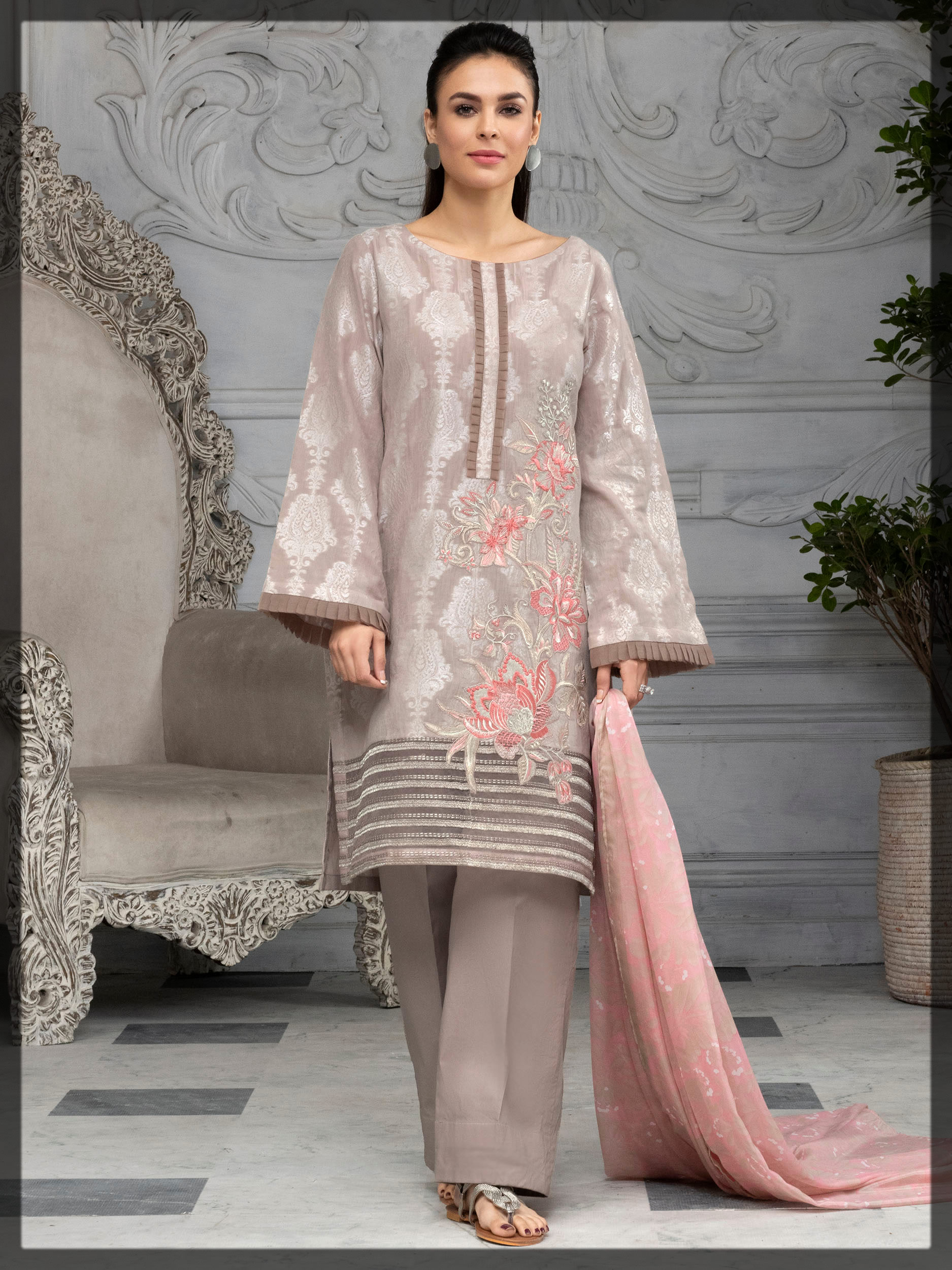 alluring light grey jacquard embroidered dress