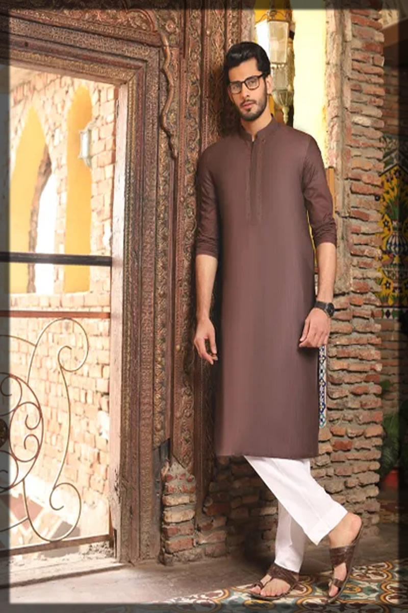 basic brown kurta for men