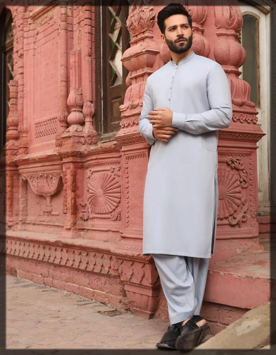 basic dull blue shalwar kameez