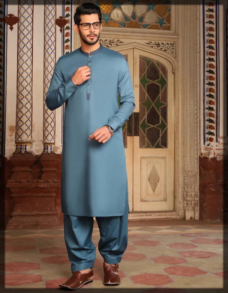 basic emerald shalwar kameez for men