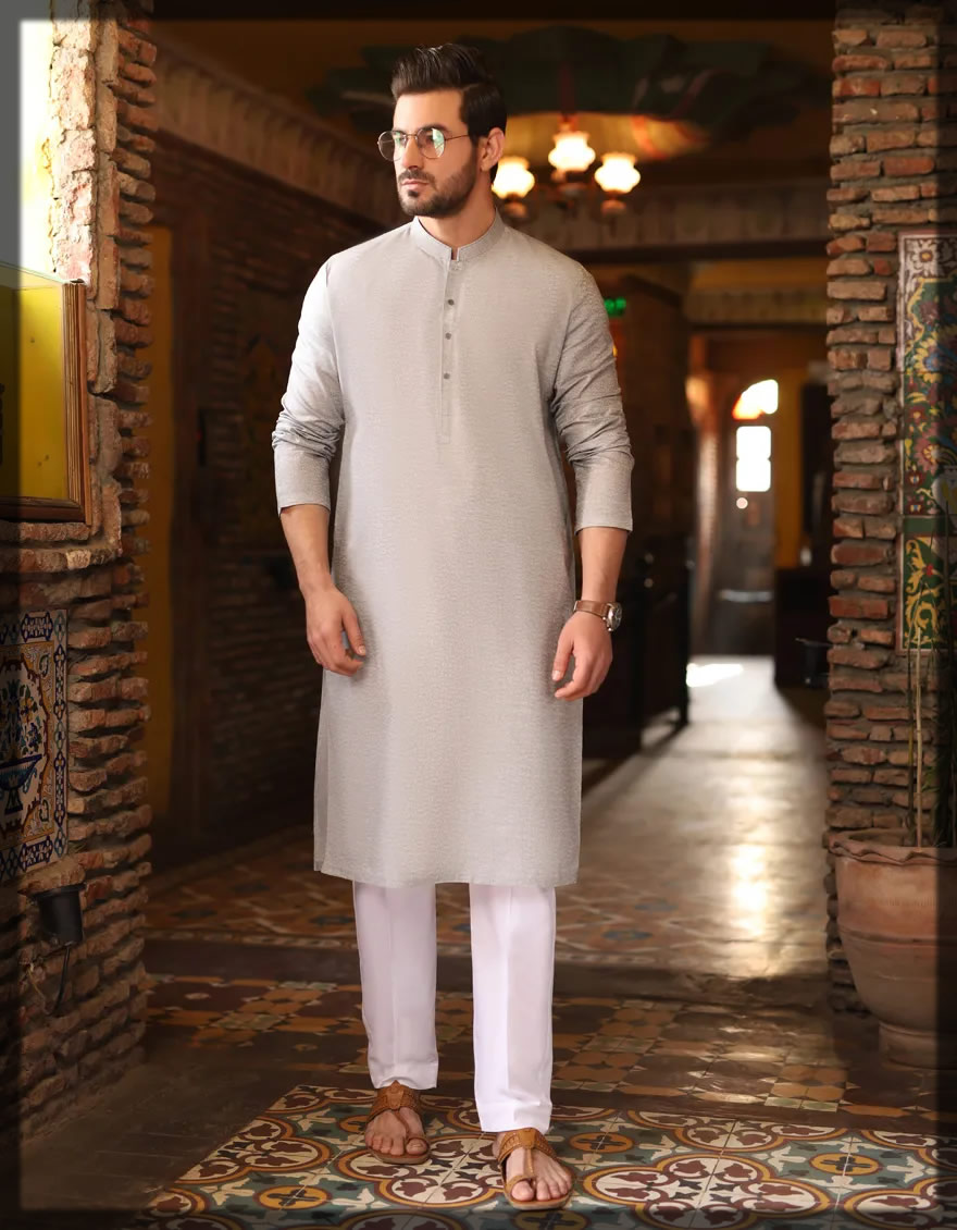basic light grey kurta for men