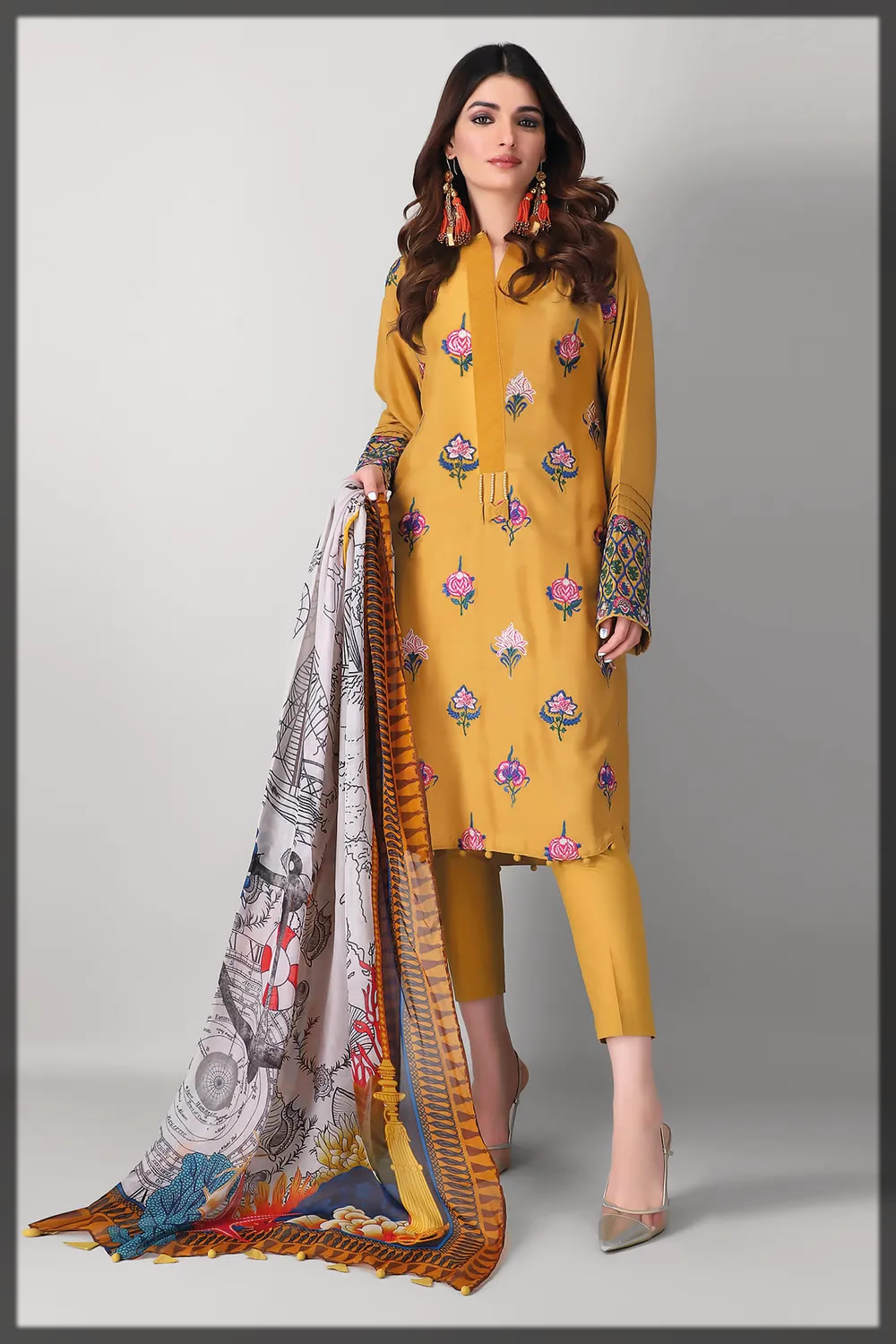 beautiful yellow embroidered oat silk suit