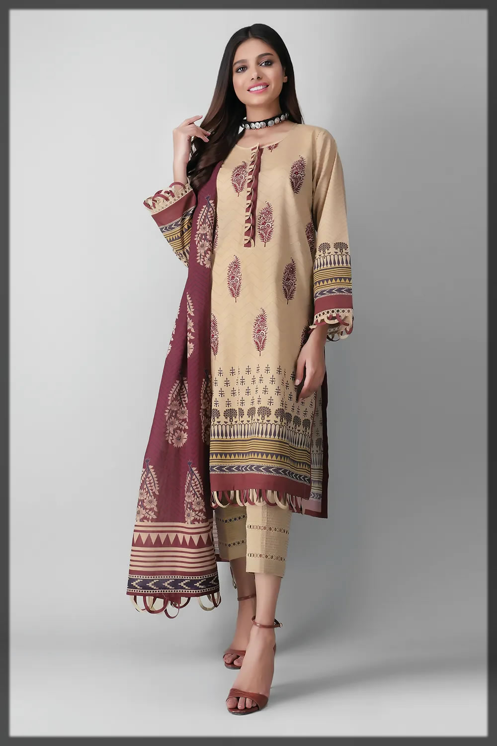 beige embroidered lawn suit