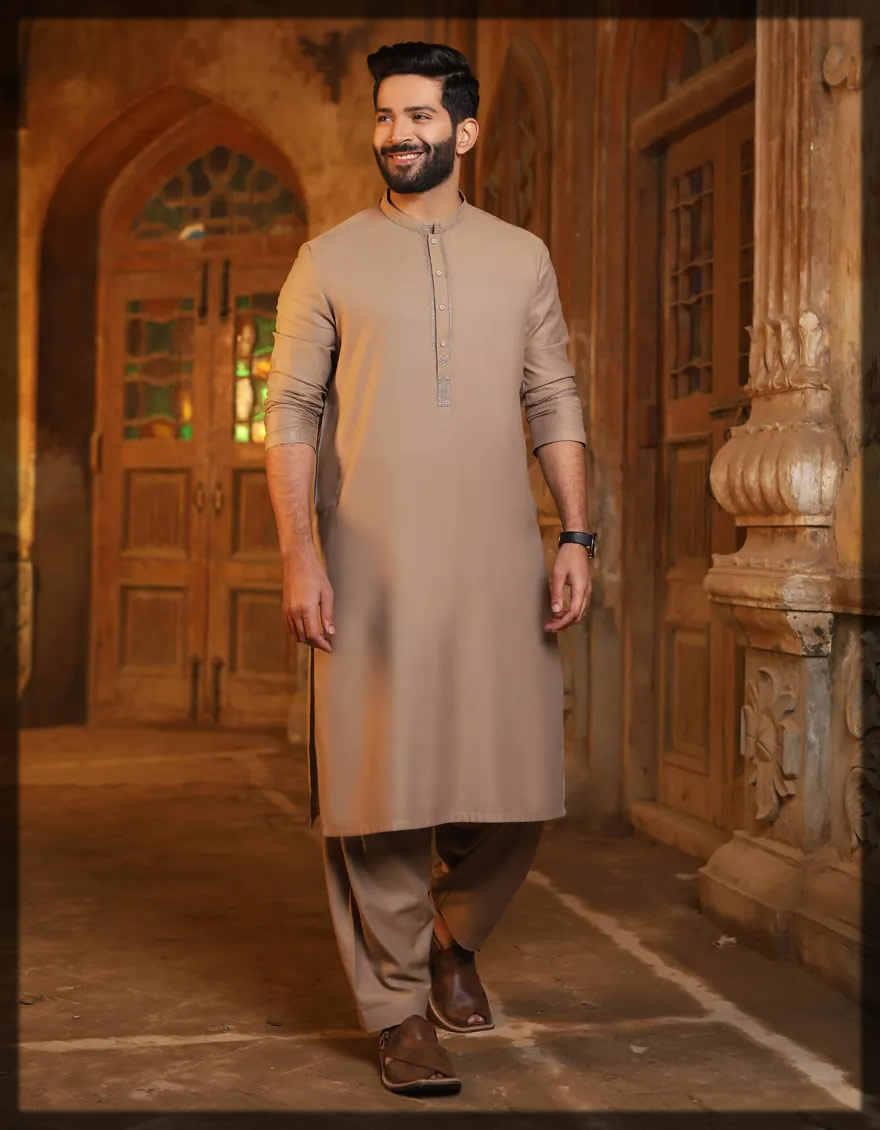 biscuit brown men's shalwar kameez