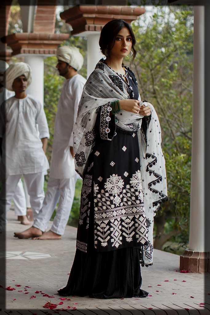 black and white summer lawn suit