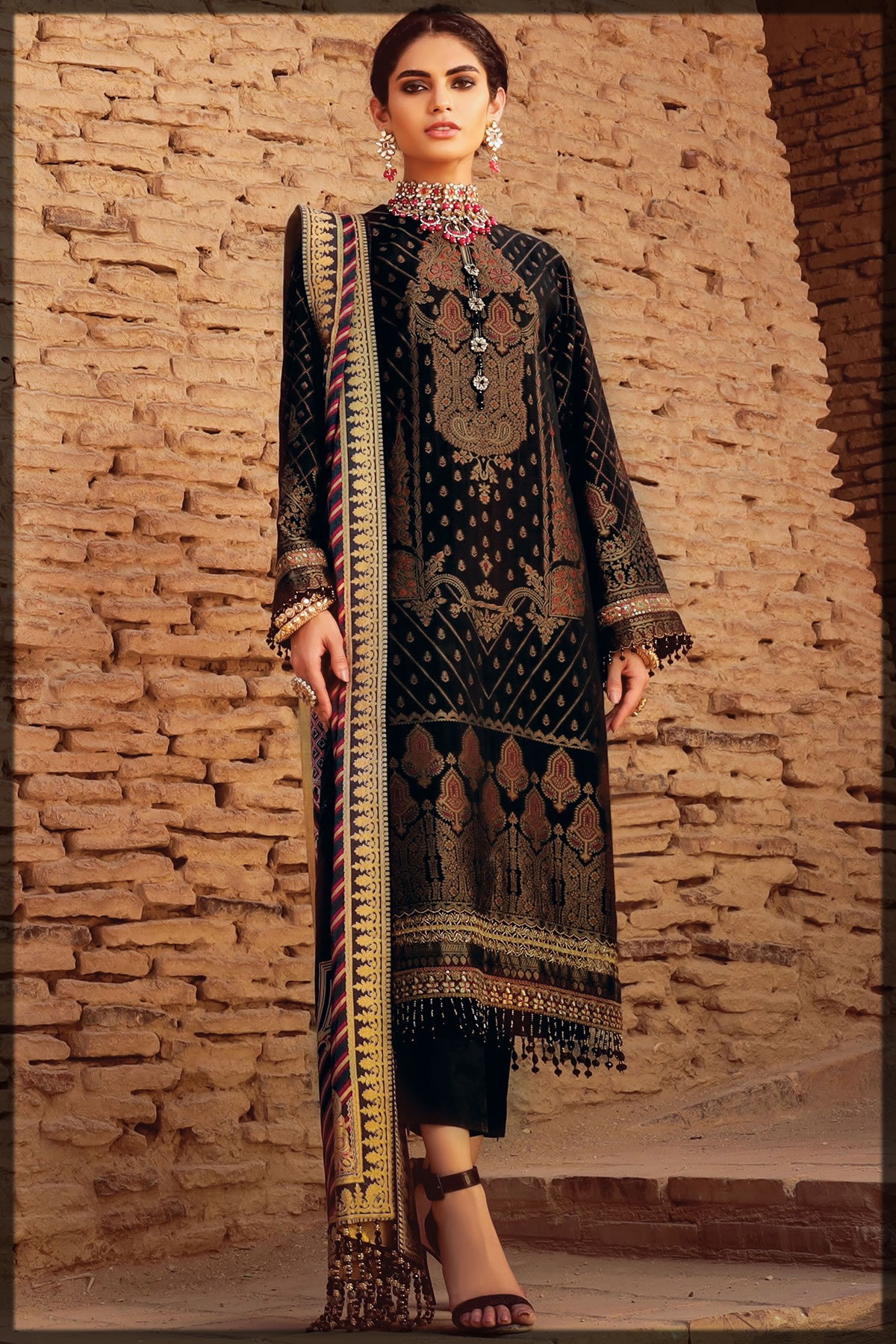 black embroidered festive lawn suit