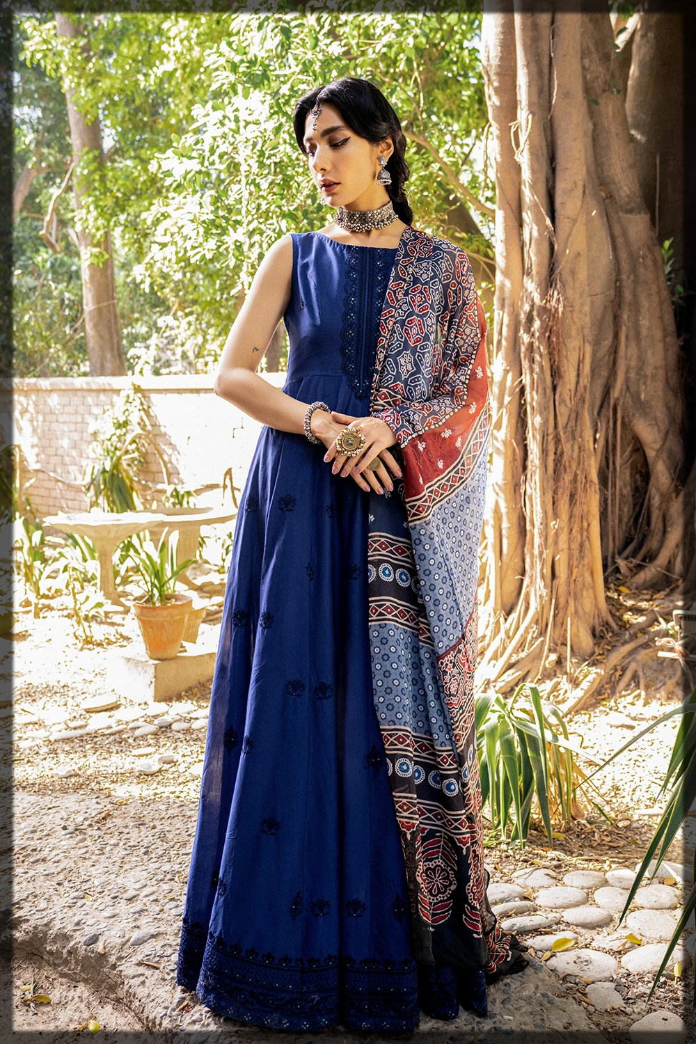 blue embroidered eid lawn suit
