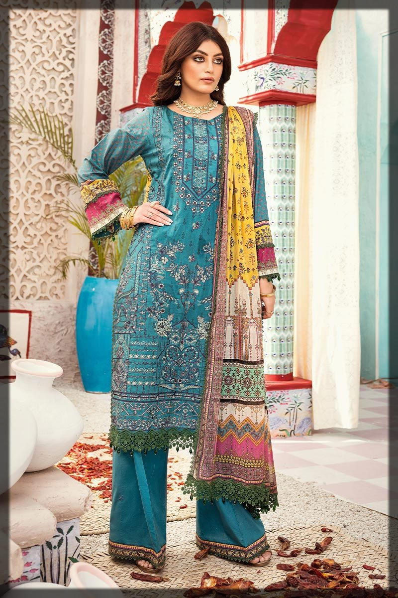 blue embroidered lawn suit