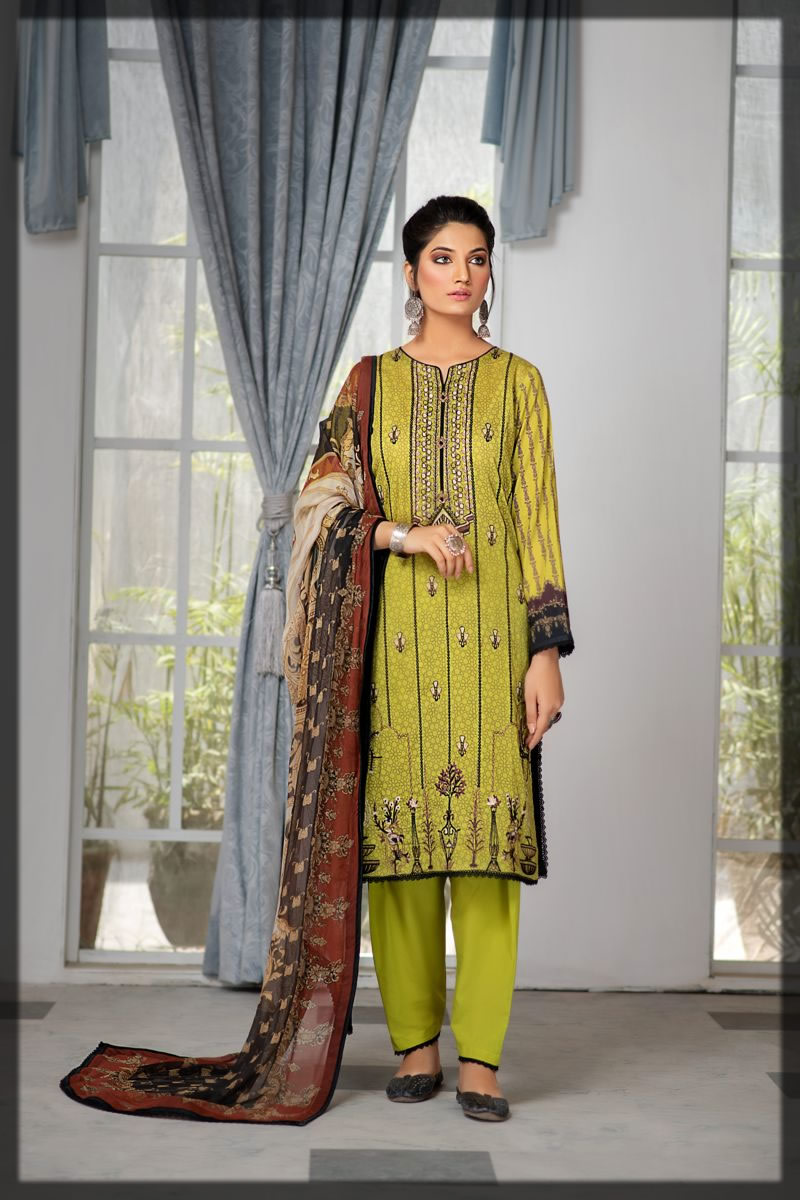 botanical green embroidered lawn dress